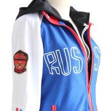 Юрий! На льду костюмы для косплея Юри плисетски Косплей пальто унисекс Повседневная Спортивная одежда пальто куртка 1 шт. синее пальто Лидер продаж