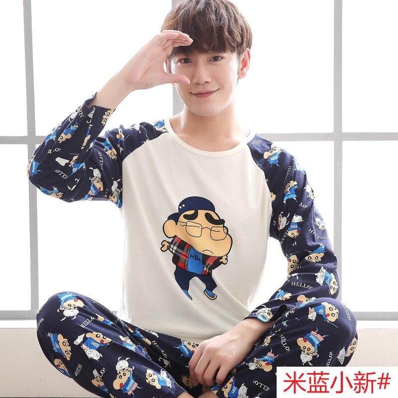 M-5xl Men Pajama Set Spring And Autumn Long Sleeve Cotton Man Pyjamas Cartoon Stripe Pajamas Plus Size Casual Sleepwear #4