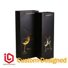 China supplier customized logo packaging bag Jewelry Packaging & Display Red wine paper bag table glass luxury bag(China)
