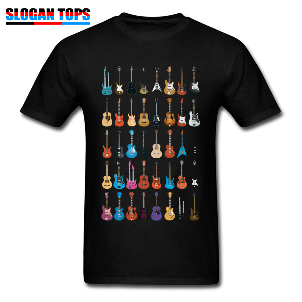 Custom 3D Printed T-shirts 2018 Summer Short Sleeve Round Neck T Shirt Cotton Fabric Men Normal T Shirts Drop Shipping Love Guitar Different Guitars Music Lover Funn black