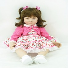 22 inch 55 cm Silicone baby reborn dolls, lifelike doll reborn babies toys Brown hair and brown eyes rose red coat baby