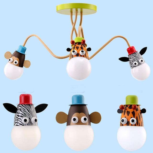Nordic Led Cartoon Surface Mount Half Pendant Lamp Droplight Monkey Girraff Zebra Night Light for Kids Children Bedroom Decor