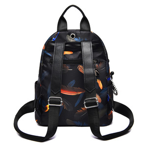 Image 3 - Anti thief Feather Print Backpack Female Oxford Cloth Waterproof Travel Casual Schoolbag  Brand Ladies Large Capacity Backpack