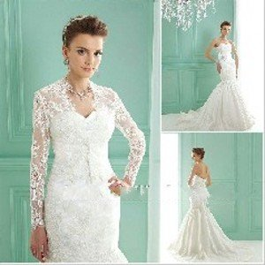 2017new Arrival New Style Lace Jacket Long Sleeves Mermaid Wedding Dress Led27