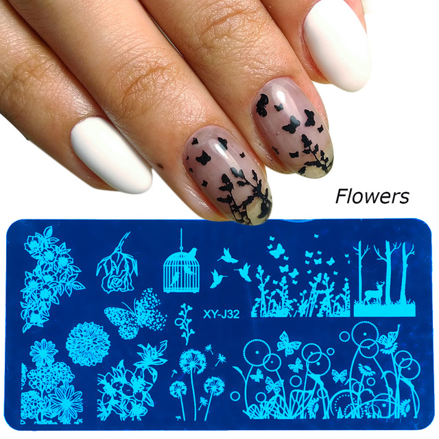 New Nail Art Stamping Plates Stencils Lace Flowers Beauty Stamp Polish Printing Halloween Nail Art Templates Manicure TRXYJ17-32
