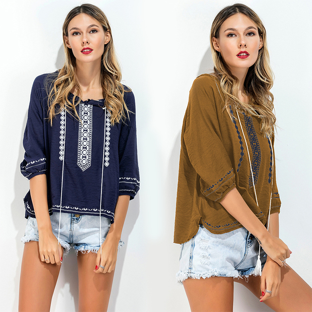 8eec5a80c US $25.38  Women Floral Embroidery Blouse Summer Linen Tassels Hippie Chic  Vintage O neck Shirts Ladies Sunscre Holiday Casual Tops Blusas -in Blouses  ...