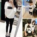 2016 nova família roupas combinando o pai/mãe/carta de algodão de manga comprida t-shirt da família roupas causais criança pai tops mãe/tee criança