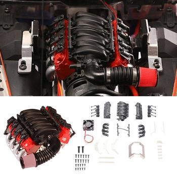 Symulacja V8 pokrywa silnika wentylator chłodnicy dla Traxxas TRX4 D90 D110 D130 SCX10 symulacja samochodu montaż silnika powłoki komponentów tanie i dobre opinie cacoonlisteo