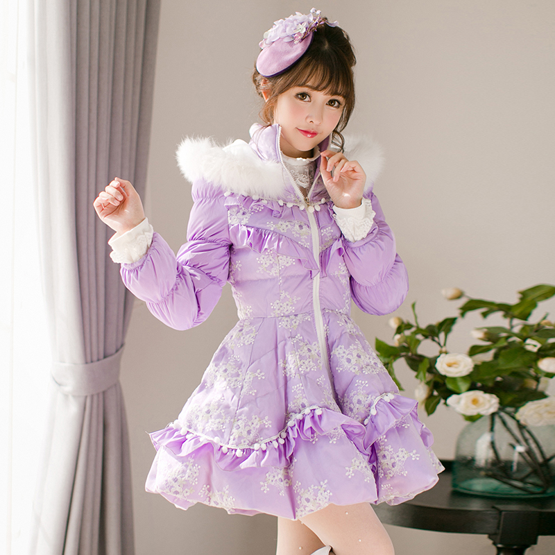 Princess sweet lolita parkas In the winter of new women's original Japanese sweet fox fur collar long sleeved coat C22CD7219 2017 winter new clothes to overcome the coat of women in the long reed rabbit hair fur fur coat fox raccoon fur collar