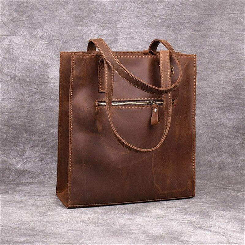 Image 3 - PNDME fashion crazy horse cowhide simple ladies tote bag vintage  genuine leather handbags holdall womens shoulder shopping bag  -