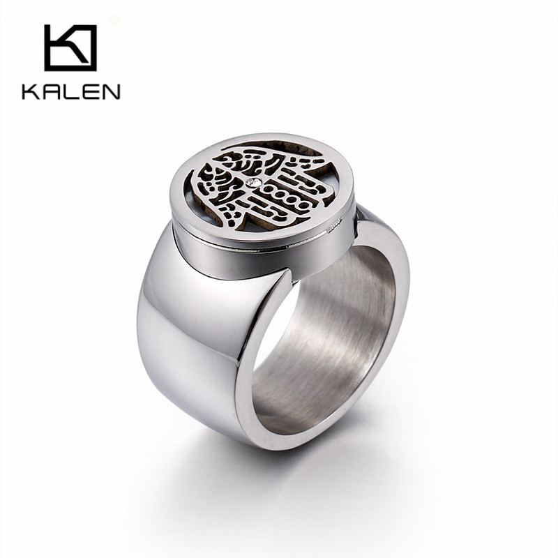 Jewelry & Accessories Kalen New Hamsa Hand Of Fatima Stainless Steel Silver Color Ring Round Pattern Women Ring Size 6-9 Fashion Jewelry Party Gift Bright In Colour
