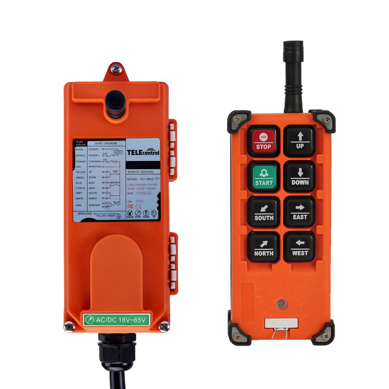 Wireless Industrial Radio Remote Control AC/ DC 24V 36V 48V 1 Transmitter 1 Receiver 6* Single Step Push Buttons for EOT Crane