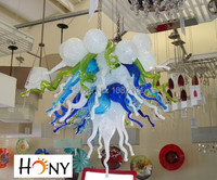 Free Shipping 110 220v AC Led Hanging Modern Art Blown Glass Chandelier
