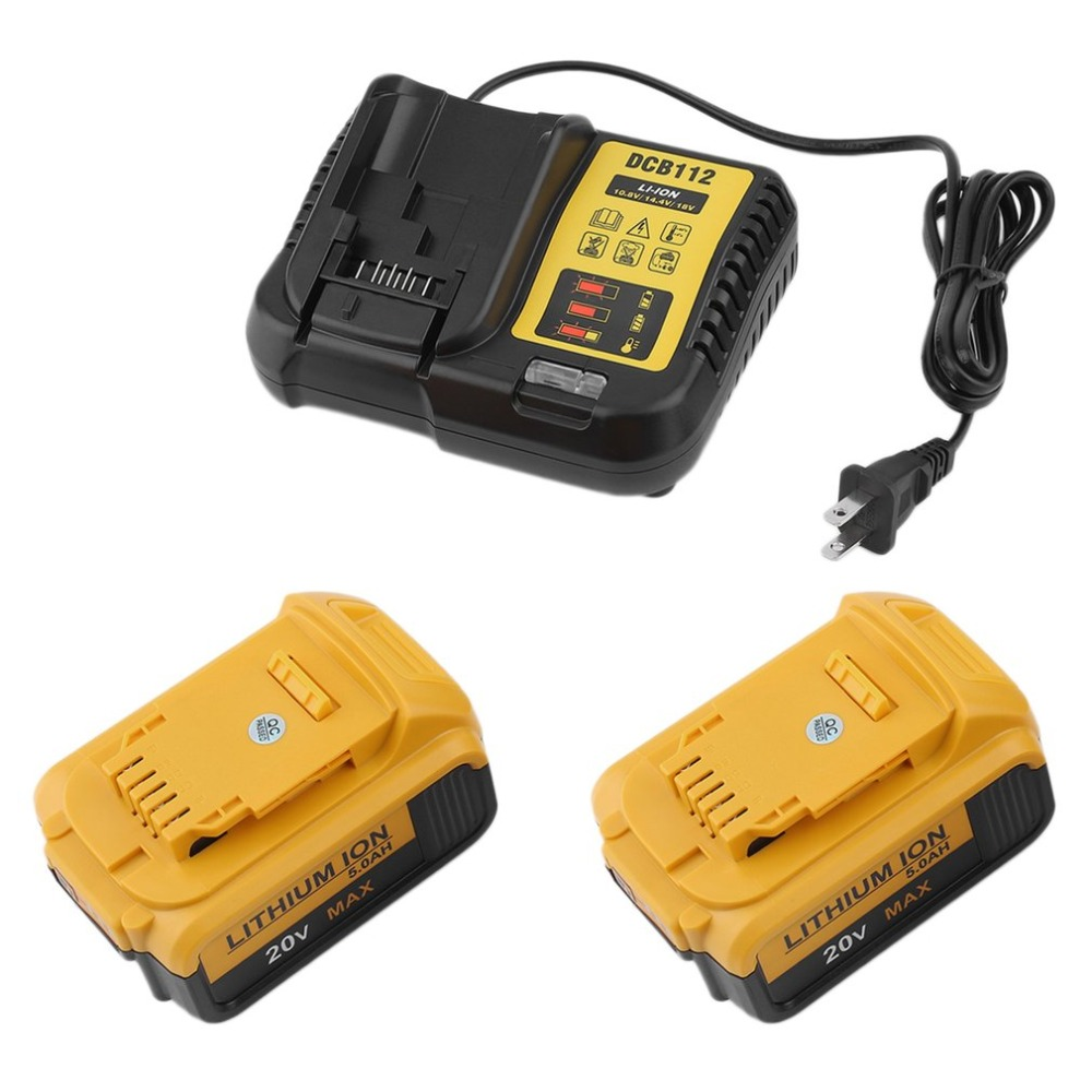 2PCS rechargeable 20V 5.0Ah Lithium Ion Battery Durable 12-18V Battery Charger For Dewalt DCB112 With Carrying Bag US Plug