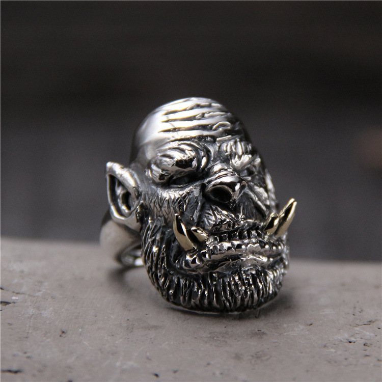 S925 Sterling Silver Personality World Of Warcraft Ring Thai Silver Retro Domineering Men Open Ended Ring s925 sterling silver skull ring metrosexual officers personality of world war ii punk man retro silver ring opening