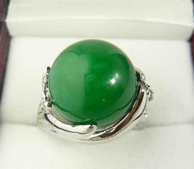 ขายส่งสไตล์เรียบง่าย 12 มม. สีเขียวธรรมชาติหยกแหวนแฟชั่น (#7.8.9)