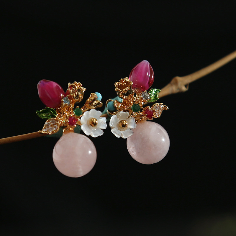 2018 créateur de mode à la main Original rose Morgan pierre fleur série bonbons oreille ongles bijoux en gros