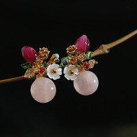 2018 Fashion Designer Handmade Original Pink Morgan Stone Flower Series Candy Ear Nail Jewelry Wholesale