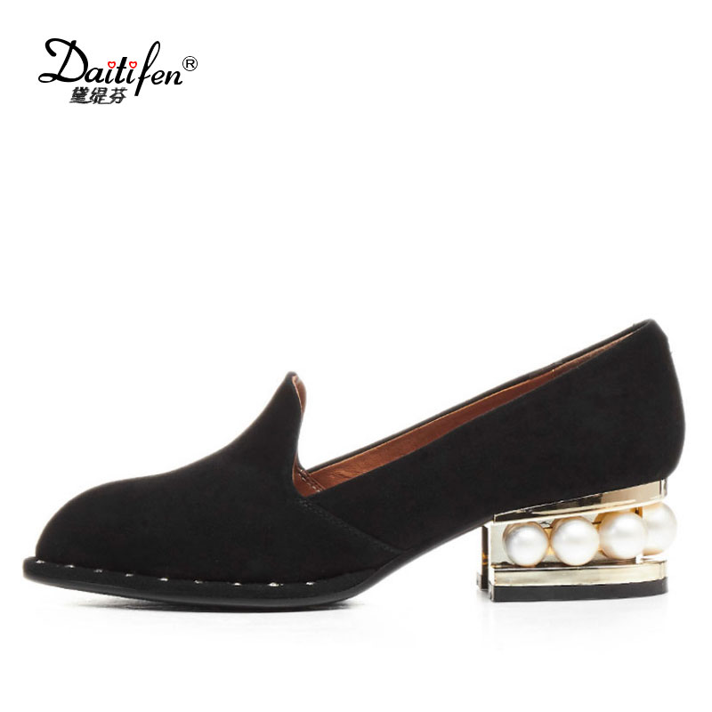 Genuine Leather Lining Kid Suede Pumps Women Shoes Pointed Toe Thick Pearl Low Heel Rivets 2017 Spring Fall Lady Plus Size Pumps 2017 new fashion brand spring shoes large size crystal pointed toe kid suede thick heel women pumps party sweet office lady shoe