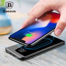 Baseus 8000mAh Power Bank QI Wireless Charger For iPhone X/XS/XR Samsung 5V/2A Powerbank Dual USB Charging Powerbank Phone Stand(China)