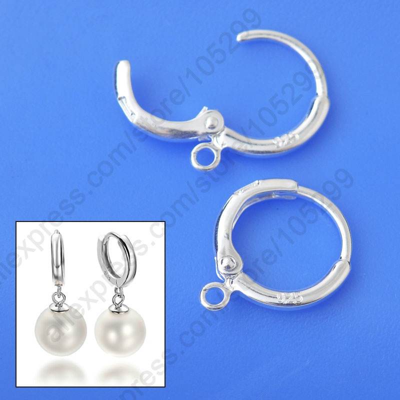 Fine Jewelry Findings 20PCS(10Pair) Genuine Real Pure 925 Sterling Silver Lever Back Ear For Drop Earring Design DIY 925 Stamped