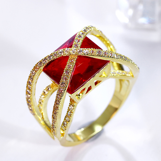 2017 new fashion red big stone wedding rings x shape design red cz crystal ring engagement - Stone Wedding Rings