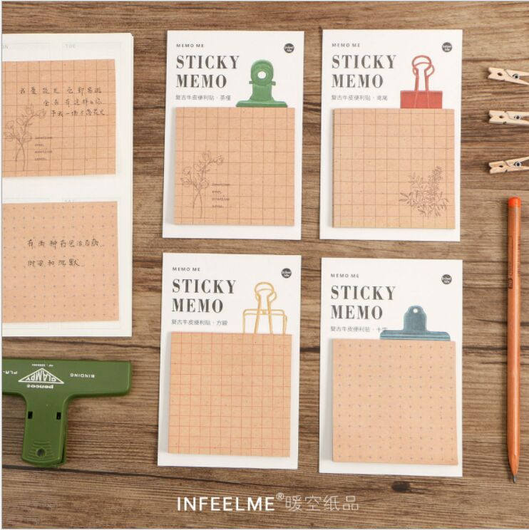 30 pages/pack 4 style vintage kraft paper Grid Memo Pad Sticky Notes Mini Planner Message note Papelaria Escolar School Supplies