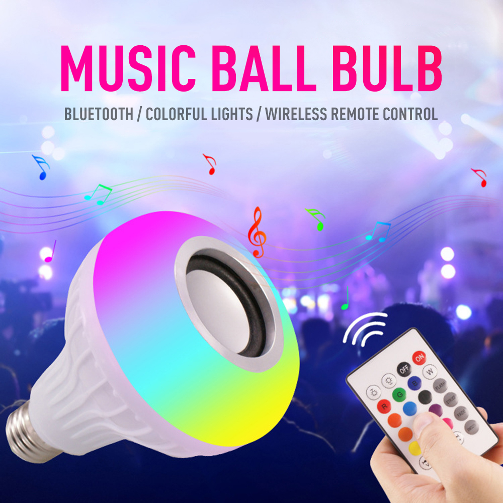 1Pc Smart 12W E27 LED RGB Light Bulb Wireless Bluetooth Speaker Music Audio Dimmable Light Lamp With 24 Keys Remote Control