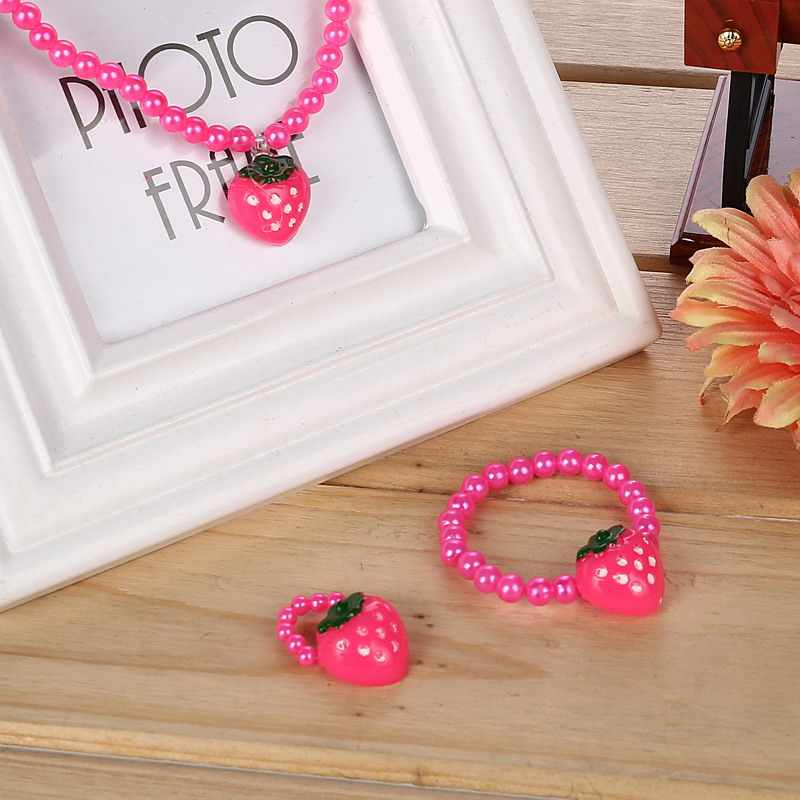 Children Imitation Pearl Jewelry Best Baby Products Girl Kids Jewelry Set Strawberry Necklace Earring Bracelet Ring