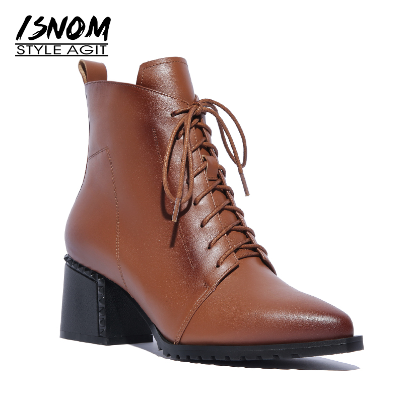 ISNOM 2018 New High Heels Women Ankle Boots Lace Up Boot Pointed Toe Rivet Ladies Shoes Autumn Zip Rubber Footwear Big Size 42 appella часы appella 4382 43 1 0 04 коллекция ceramic
