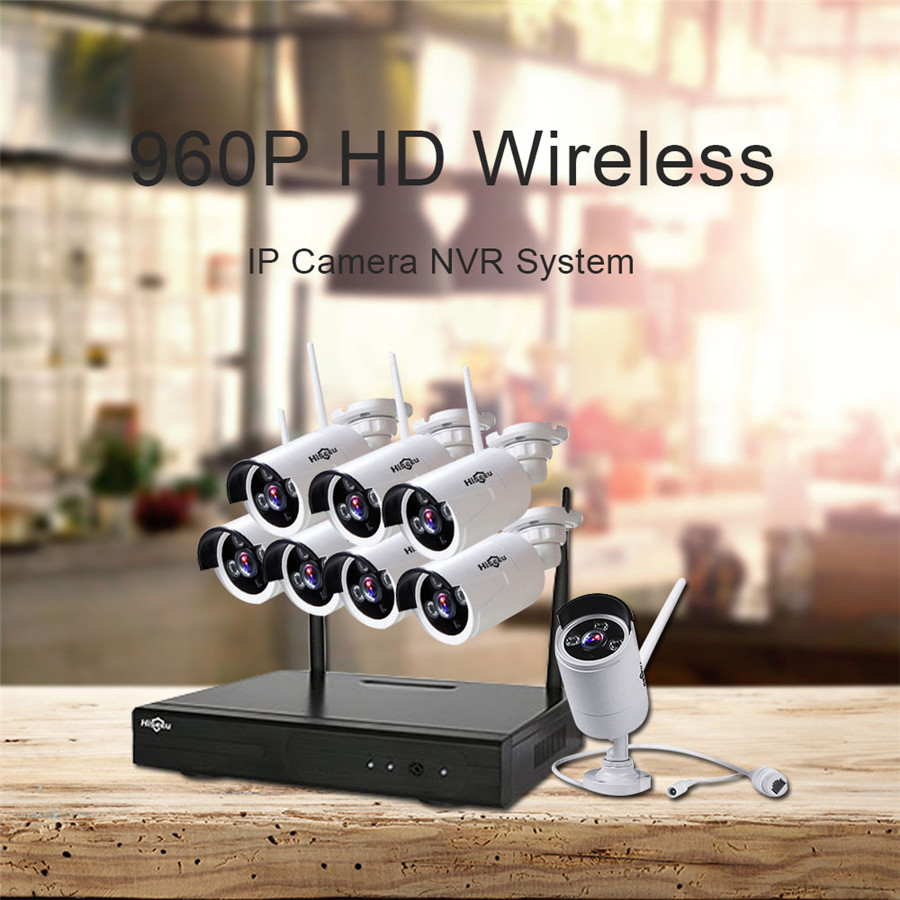Hiseeu HD 960P 8CH Wireless CCTV System Kit Wifi Home Security System Video Surveillance Outdoor IR Night Vision IP Camera 48 cctv system 960p 8ch hd wireless nvr kit outdoor ir night vision home security system surveillance ip camera wifi camera kit 42