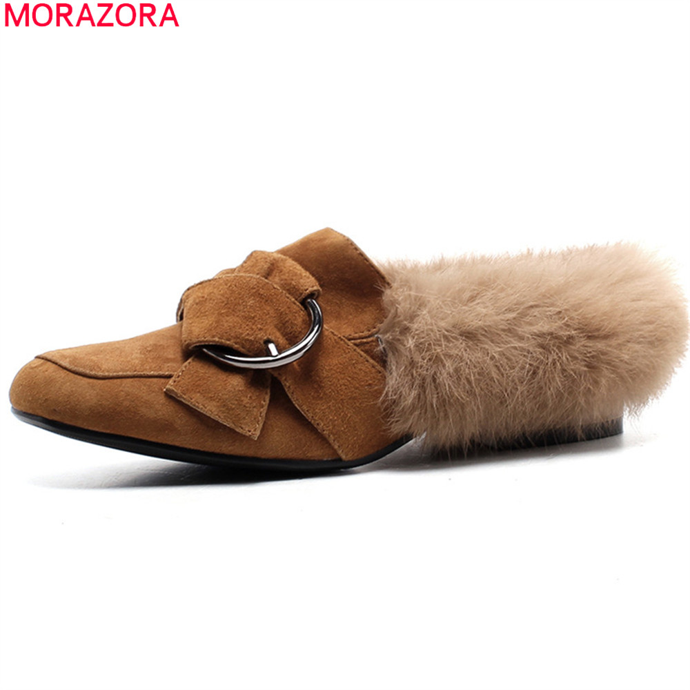 MORAZORA fashion winter new arrive women shoes square toe slip on cow suede flats shoes simple comfortable fur ladies shoes lin king fashion pearl pointed toe women flats shoes new arrive flock casual ladies shoes comfortable shallow mouth single shoes