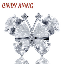 CINDY XIANG New Fashion Cubic Zirconia Butterfly Collar Pins for Women Cute Clear Color Insect Brooch Pin Small Shining Jewelry