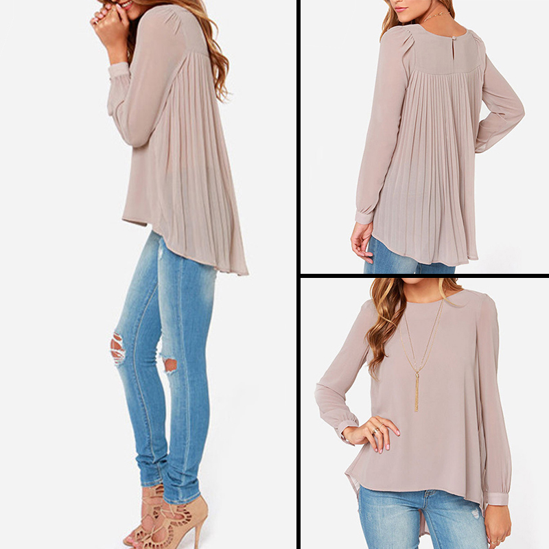 8c163a936fa 2018 New Fashion Women Blouse European Style Chiffon Blouses Ladies Office Shirts  Long Sleeve Pleated Back Women Tops WQE3512 36-in Blouses   Shirts from ...