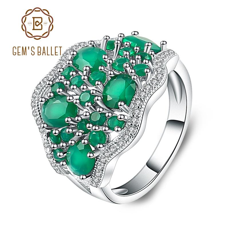 Gem's Ballet 4.77Ct Natural Green Agate Gemstone Vintage Rings Solid 925 Sterling Silver Fine Jewelry For Women Elegant Gift