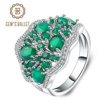 Gems Ballet Anillo de plata sólida 925 con piedra Ágata verde Natural, joyería fina, elegante