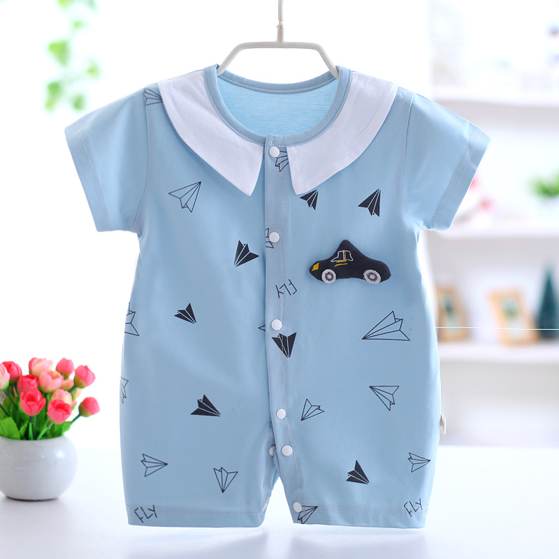 2018 New Baby Conjoined Clothing Summer Cotton Thin Baby Clothes Boys Short Sleeved Pajama Newborn Baby Girl Rompers
