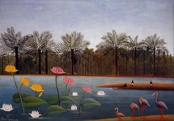 High quality Oil painting Canvas Reproductions The Flamingoes (1907)  by Henri Rousseau painting hand painted