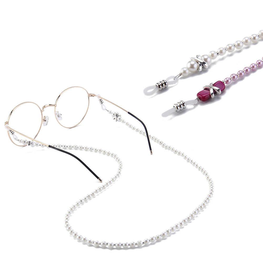 1PC แฟชั่น Elegant Handmade เลียนแบบ Pearl Beaded โซ่ผู้ชายผู้หญิงปฏิบัติแว่นตากันแดดแว่นตา Chain