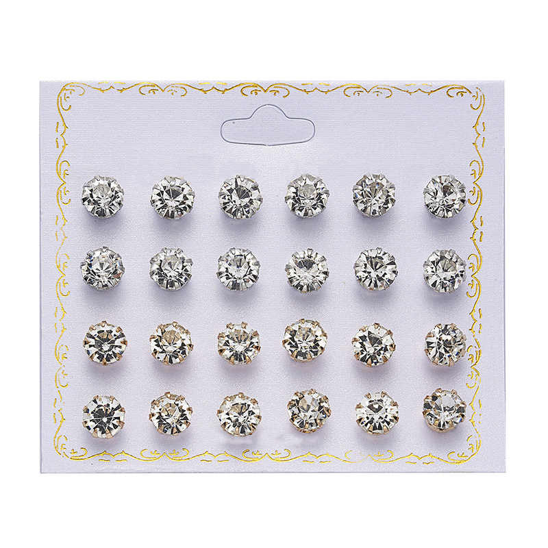 12 pairs/set Crystal Simulated Pearl Earrings Set Women Jewelry Piercing Ball Stud Earring kit Bijouteria brincos fashion