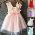EMS DHL Free Shipping toddler's Little Girl's Lace Dress 3 Flower Shoulder Dress Princess Dress 5 Colors pretty dress