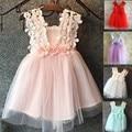 EMS DHL Free Shipping toddler's Little Girl's Lace Dress 3 Flower Shoulder Dress Princess Dress 5 Colors pretty dress