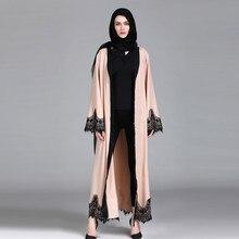 Women Kaftan Polyester patchwork Islamic Arab Elegant Muslim Abaya Dress Cardigan Robe Turkish Hijab  Prayer Clothing 4.13