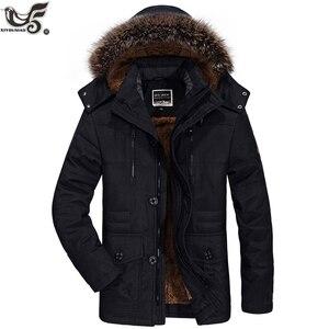 Image 5 - Chaqueta de invierno para hombre abrigo militar negro con relleno de algodón grueso cálido, abrigo parca vestuario, rompevientos, Abrigo con capucha de piel