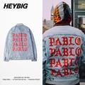 Chaqueta de Mezclilla Azul Kanye West PABLO Recuerdo Álbum Ropa Botín Heybig Hiphop Moda de la Calle los hombres de jean Chaquetas Tamaño de China