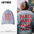 Light Blue Denim Jacket Kanye west PABLO Album Souvenir Heybig Swag Clothing Street Fashion Hiphop men jean Jackets China Size