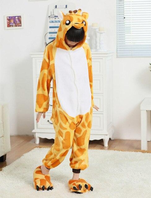 Жираф фланели костюмы комбинезон для детей дети Onesie пижамы косплей костюм одежда для хэллоуина карнавал