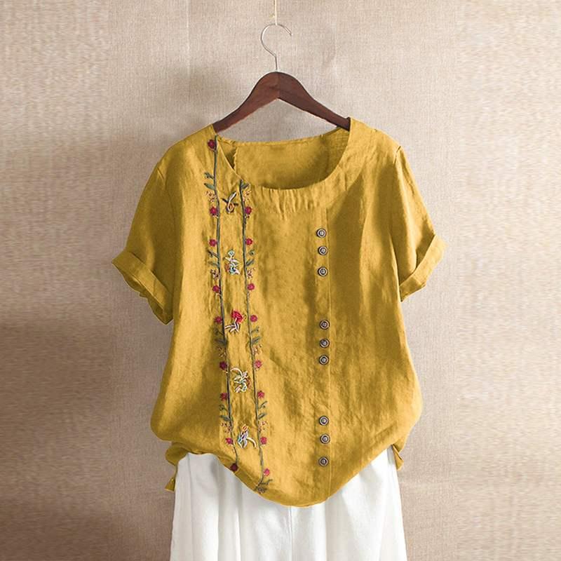2019 Plus Size Floral Embroidery Tunic Top Summer Women Casual Short Sleeve Vintage Bohemian Cotton Blouse Shirt Female Blusas