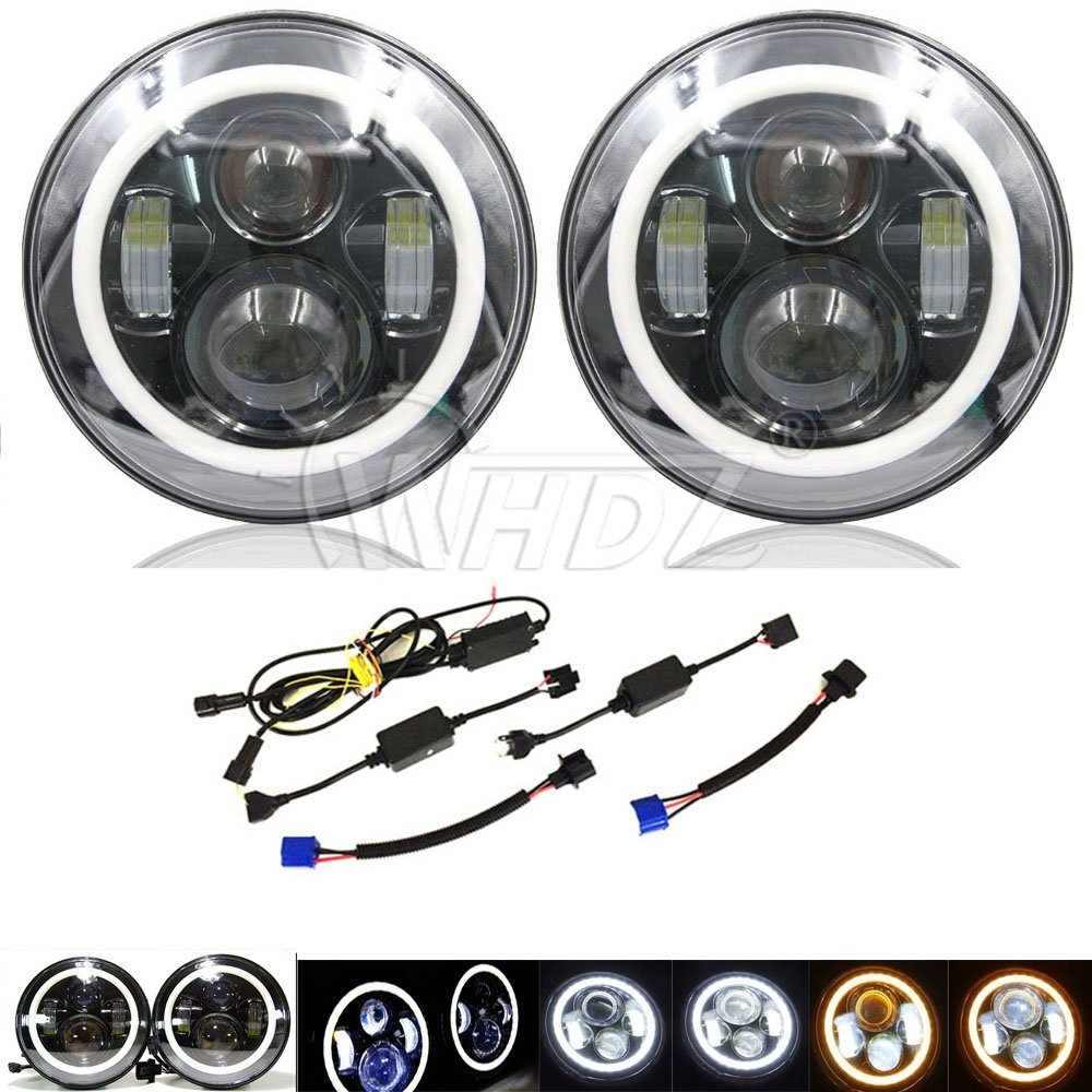 7 Inch Round 40w LED Headlights w/ White Amber Halo Ring Angel Eyes For Jeep Wrangler JK TJ CJ windshield pillar mount grab handles for jeep wrangler jk and jku unlimited solid mount grab textured steel bar front fits jeep