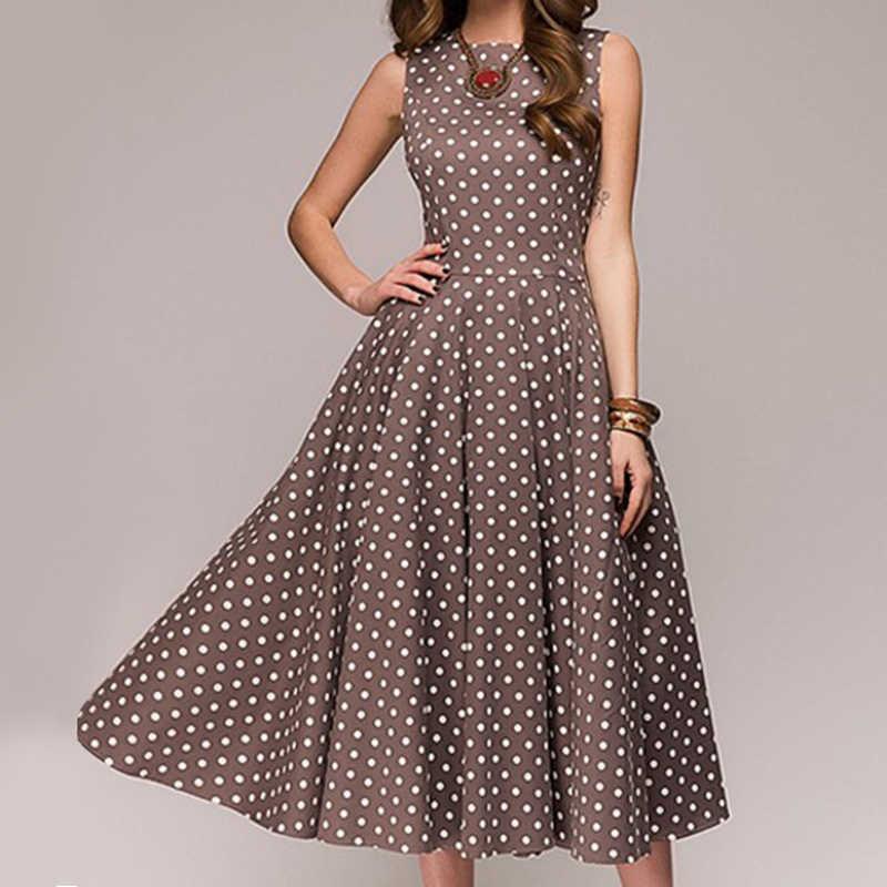 47b5a35722061 S-4XL Retro Women Polka Dot Swing Dress Elegant Sleeveless Vintage New  Ladies Summer Plus Size Casual Party Dresses Vestidos